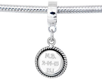 Custom Personalized Engraved Charm European Bead- Round with Rope Edging-Fits all European Bracelets