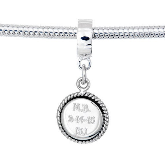 custom personalized engraved charm european bead with