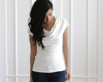Pure White Cowl Neck Top, Organic Cotton, Bamboo Cowl Neck, Bamboo Tshirt, Womens EcoFriendly Clothing, Off White Cream Cowl Neck - SARA