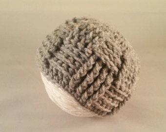 Crochet beanie, baby hat, gray hat, textured hat, newborn photo prop, newborn beanie, baby boy hat, baby girl hat
