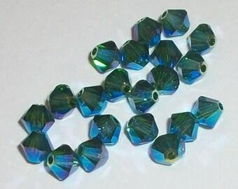 Swarovski Crystal Beads 4mm BICONE crystal beads Dark Moss Green AB2X