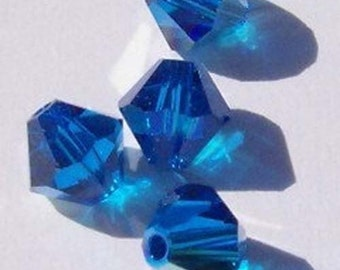 Swarovski Elements Crystal Beads BICONE  crystal beads Capri Blue AB  -- Available in 4mm and 6mm