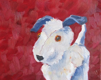 Good Dog! an original 8 x 10 (20 x 25 cm) oil painting on canvas board. Yvonne Wagner. Terrier. Hund. Chien. Gift. Dog painting. Sale.