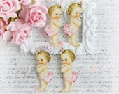 Vintage Baby Girl Die Cut Embellishments for Scrapbooking, Cardmaking, Mixed Media, Altered Art