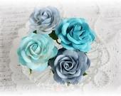 Shades of Blue Mulberry Trellis Roses Set of 4 for Scrapbooking, Cardmaking, Altered Art, Wedding, Mini Album