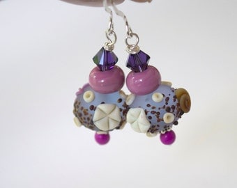 Shell Earrings, Beach Earrings, Lampwork Earrings, Glass Bead Earrings, Ocean Earrings, Nautical Earrings, Purple Earrings, Shell Earrings