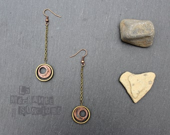Free shipping to Canada - Lörbit - Mix Metal earrings - Industrial, contemporary, steampunk