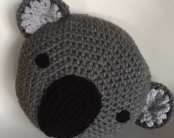 Crochet Koala Pillow, Handmade pillow ,Koala pillow, Gray pillow,animal pillow, Crochet pillow