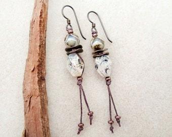 Boho Rustic Tassel Earrings, Silver Leaf Jasper Natural Stone, Tibetan Agate, Copper Discs, Niobium Wires, Hypoallergenic, Handmade Earrings