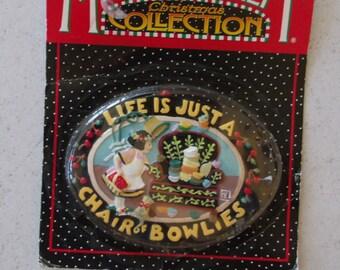 Vintage Kurt Adler Christmas Ornament Mary Engelbreit Chair of Bowlies Christmas Ornament MIP
