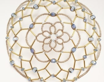 Large Gold and Blue Kippah