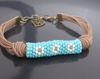 Blue with White Flowers Beaded Waxed Cotton Cord Bracelet with Heart Charm