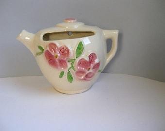 Vintage Diamond Pottery teapot wall planter Teapot wall decor