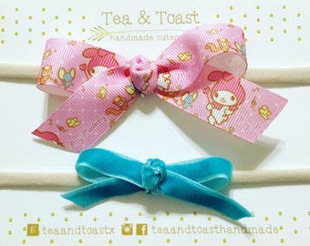 Hand tied knotted bow headband set/my melody/sanrio