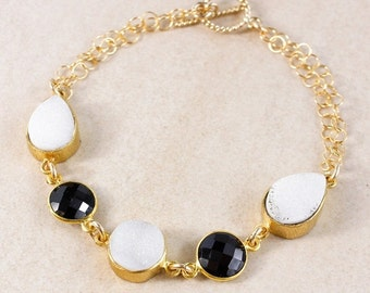 ON SALE Black Onyx and White Druzy Bracelet – 14K Gold Filled