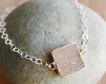 ON SALE Square Agate Druzy Quartrz Gemstone Bracelet - Multiple Colours - Choose Your Stone