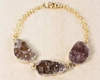 ON SALE Natural Agate Druzy Bracelet - Free Form Druzy - Gold or Silver