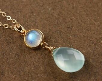 25% OFF Gold Aqua Chalcedony Necklace - with Rainbow Moonstone, June Birthstone - 14K GF