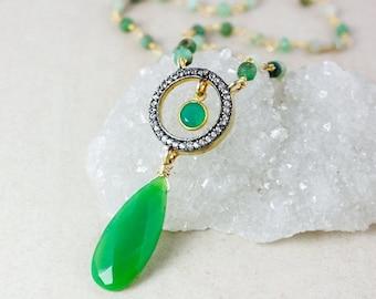25% OFF Teardrop Green Chrysoprase Necklace – Pave White Topaz – Green Onyx