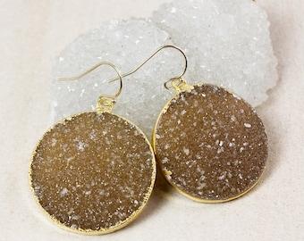 50% OFF Warm Druzy Dangle Earrings – Choose Your Druzy – 14K Gold Filled Hooks