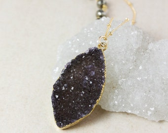 50% OFF SALE - Gold Dark Agate Druzy Necklace – Grey or Black Druzy – Black Pyrite Chain