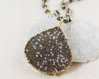 Natural Agate Druzy Necklace – Statement Pendant – Black Pyrite Chain