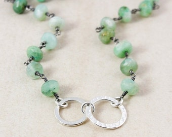 40 OFF SALE Green Chrysoprase Necklace – Sterling Silver Hoops