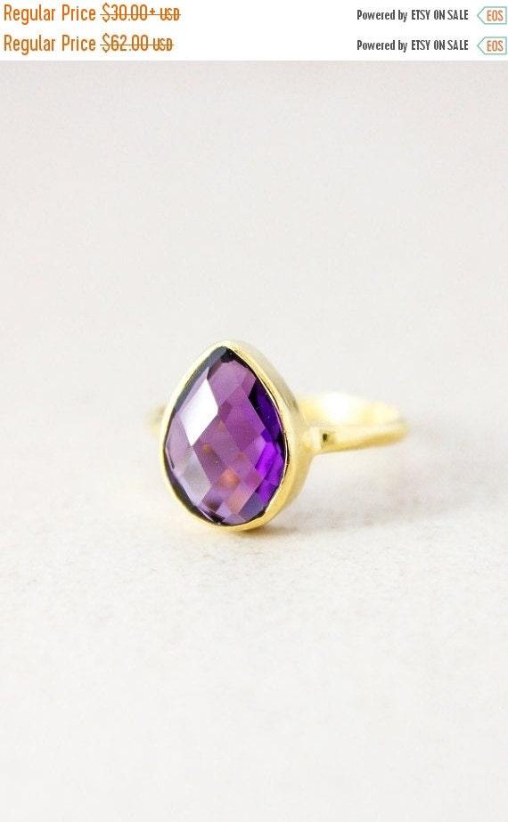 25% OFF Purple Amethyst Ring - Gemstone Ring - Stacking Ring, February Birthstone Ring