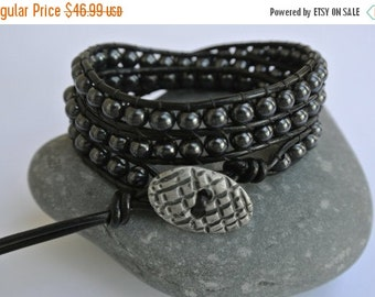 30% OFF SALE Besa Hematite Beaded Black Leather Wrap Bracelet