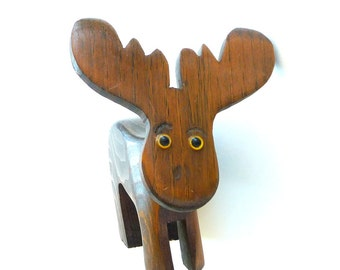 Wood Moose - Pencil Holder - Message Holder - Adorable - Gift - Recycled - Eco Friendly - Desk Pet - Soulful - Whimsical - Versatile