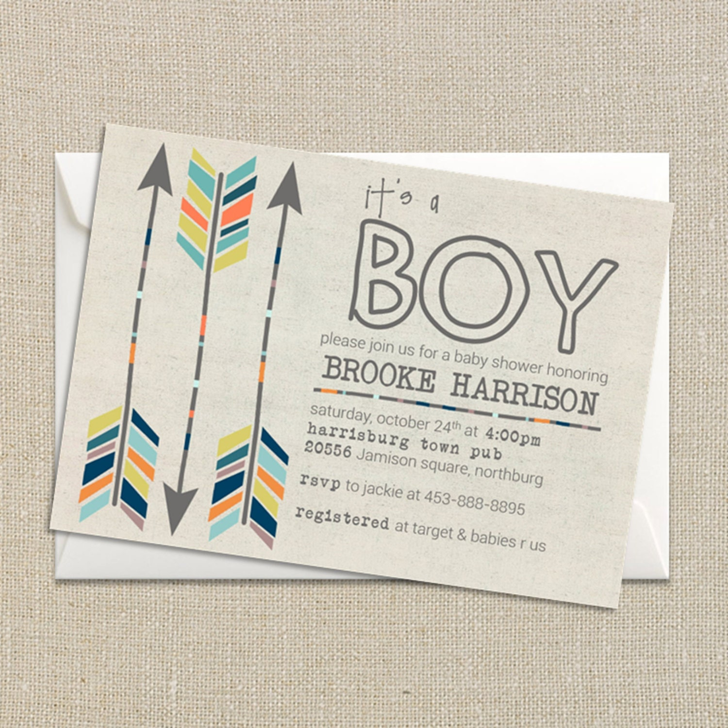 baby boy shower invitation fall colors tribal aztec and