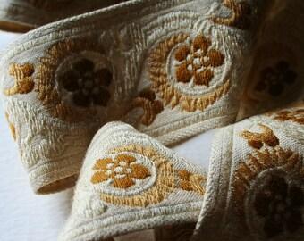 Vintage Upholstery Trim Neutral Creams and Browns 5 Meters Floral Scroll Motif