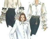1990s Blouse Pattern Three Variations Lace or Ruffled or Plain Sleeve 1993 Vogue 8773 Bust 34 to 38 UNCUT