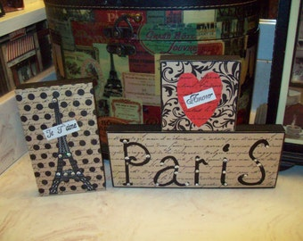 Cream love Paris sign Eiffel Tower block shelf sitter Paris decor,shabby chic,Paris bedroom decor,French bedroom,Paris wall decor