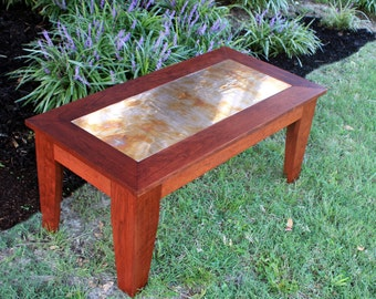 "Cherry Coffee Table, Distressed Copper Centerpiece, Natural Contemporary, ""Cherry & Copper"", Satin Finish, 40 x 20 - Handmade"