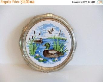 ON SALE Vintage Trivet - round table saver - Ducks - Birds swiming - made in Japan - Artwork