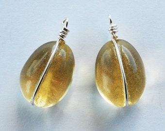 Vintage Glass Nugget Beads 2 Jonquil Sterling Silver Wrapped Pendants