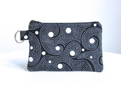 Black and White Spiral Key Ring Pouch / Zippered Bag  / Id Case / Gadget Pouch with Split Ring - READY TO SHIP