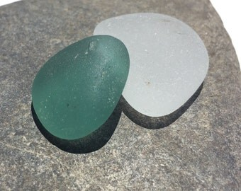 Drilled Sea Glass Greenish Teal  GENUINE Sea Glass thick Small Pendant   (201)