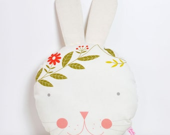 round pillow bunny head in white - kids decorative cushion
