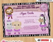 Monkey Baby Shower Invitations TuTu Cute Ballerina Girls Monkey Monkeys Jungle Safari Zebra Elephant Lavender/Purple DIGITAL INVITATION #232