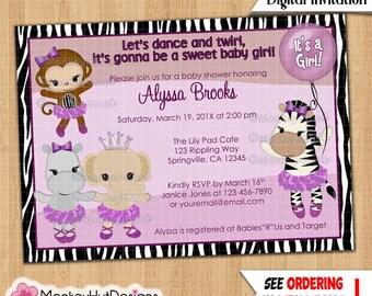 Monkey Baby Shower Invitations TuTu Cute Ballerina Girls Monkeys Jungle Safari Zebra Elephant Lavender/Purple DIGITAL INVITATION #232 233