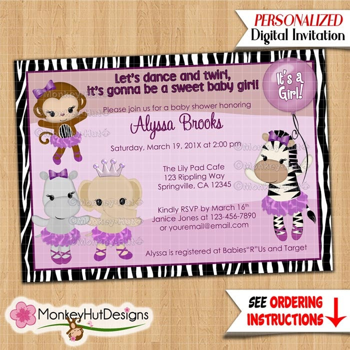 monkey baby shower invitations tutu cute ballerina girls, Birthday invitations