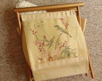 Vintage Knitting Crochet YARN CADDY Tote with Bird Cherry Blossom