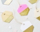 Geometric gift tags, escorts cards, gold painted, modern, wedding pape
