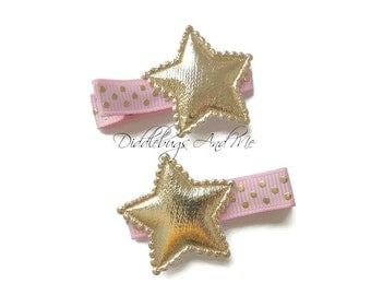 Pink And Gold Star Hair Clips, Star Hair Clips, Hair Clips, Everyday Hair Clips, Piggy Tail Hair Clips, Hair Clip For Girls, Piggy Tail