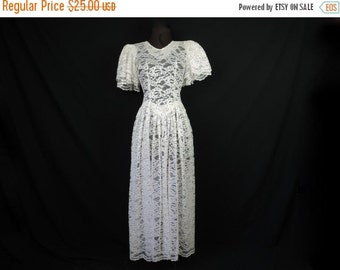 ON SALE white lace dress 80s sheer floral lacy romantic tea dress small