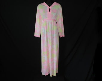 psychedelic floral nightgown 60s lorraine pink mod flower long lounge gown nylon maxi large