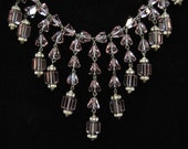 Art Deco Purple Fringe Crystal Necklace, Bell Shaped Crystals
