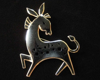 Gold Filled Enamel Donkey Brooch by James H. Hall